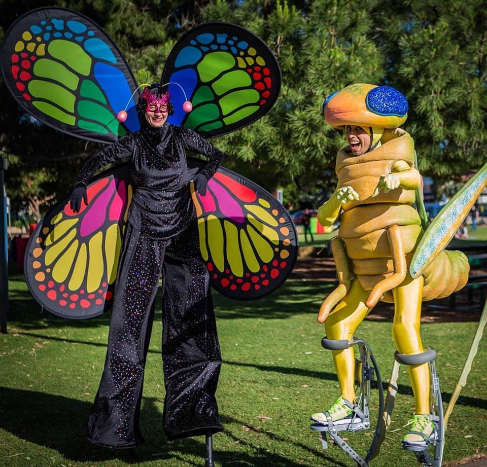 Adelaide Stilt Walkers in themed character insect costumes