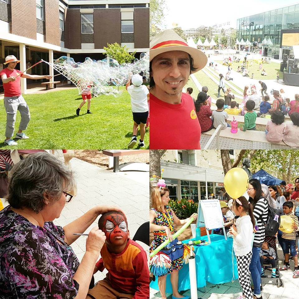 Flinders University with the Mr Oopy Bubbles, Facepainting and Baloonist
